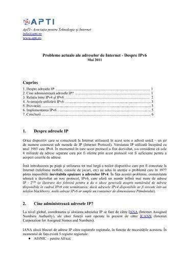 Probleme actuale ale adreselor de Internet - Despre IPv6 Cuprins 1 ...