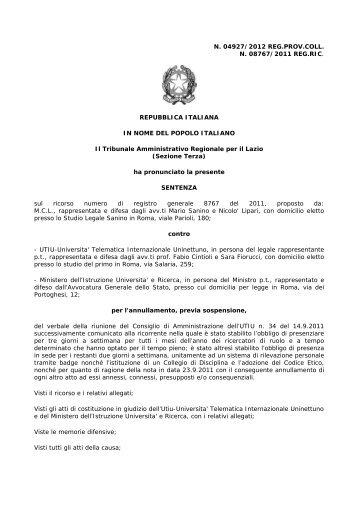 sentenza Tar Lazio 4927