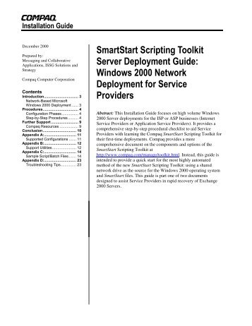 SmartStart Scripting Toolkit Server Deployment Guide - ActiveAnswers