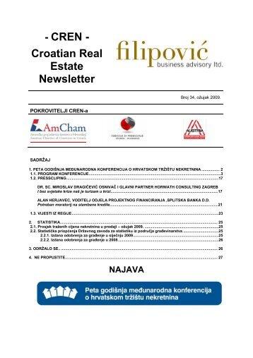 Croatian Real Estate Newsletter - Filipović poslovno savjetovanje doo