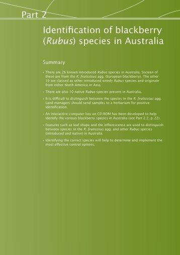 Part 2: Identification of blackberry (Rubus) species - Weeds Australia