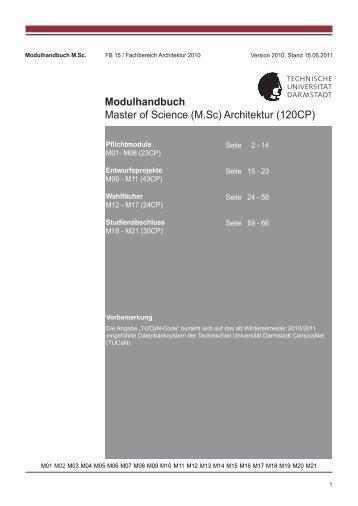 Modulhandbuch Master of Science (M.Sc) Architektur (120CP)
