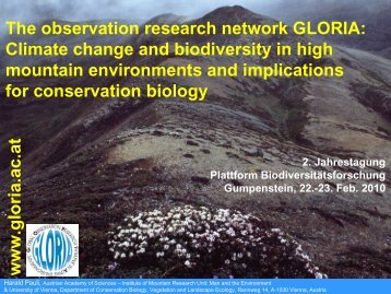 The observation research network GLORIA: Climate change and ...