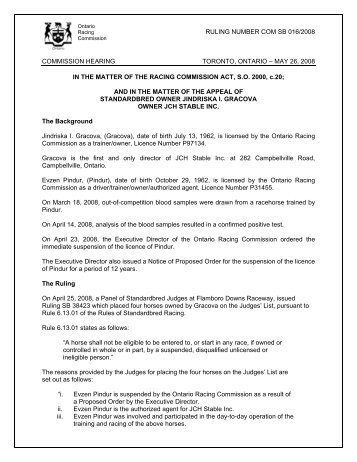 ORC Commission Ruling - Ontario Racing Commission