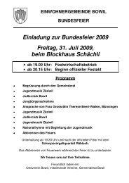 Einladung zur Bundesfeier 2009 - Bowil