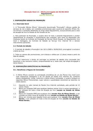 Oferta prorrogada até 30/09/2010 Regulamento Ofertas ... - Vivo