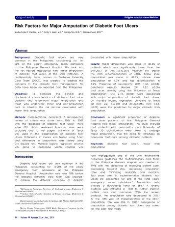 Risk Factors for Major Amputation of Diabetic Foot Ulcers