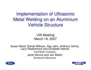 Implementation of Ultrasonic Metal Welding on an Aluminium ...