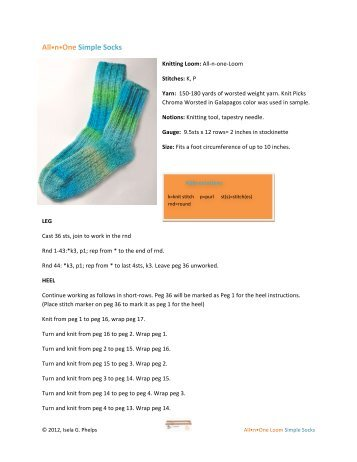 All•n•One Simple Socks - Authentic Knitting board