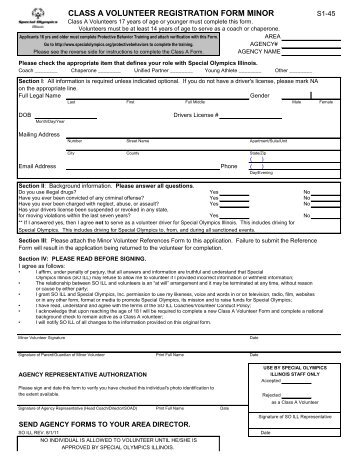 class a volunteer registration form adult - Special Olympics Illinois