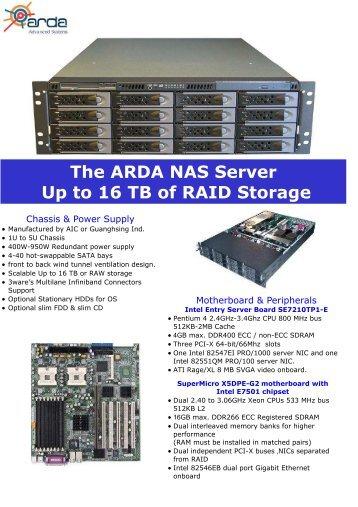 The ARDA NAS Server Up to 16 TB of RAID Storage