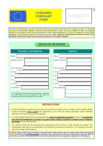 Approved Contractor, Consumer Complaints Example Form - Niceic