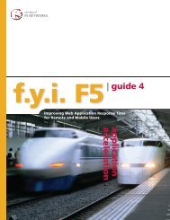 User Experience Guide 4 - Application Acceleration - F5 Networks