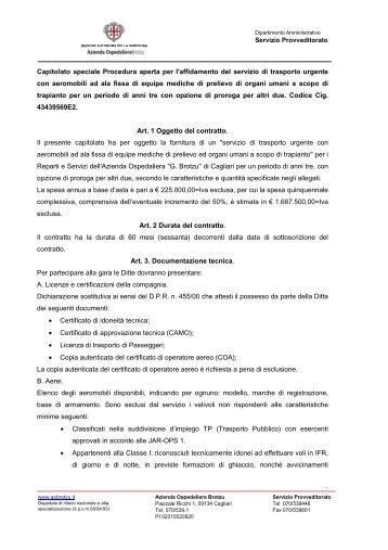 Scarica il Capitolato Speciale - Azienda ospedaliera G. Brotzu