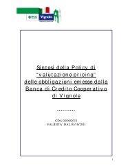 """Sintesi della Policy di """"valutazione pricing"""" delle ... - BCC Vignole"""