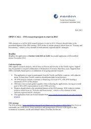 OPEN CALL – SNS research projects to start in 2013
