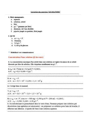 "Correction des exercices ""LES SOLUTIONS"" - Webnode"