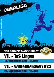 VfL - TuS Lingen VfL - Wilhelmshaven U23 - VfL Germania Leer