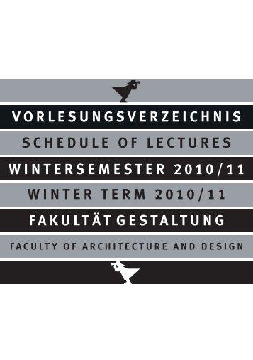 Entwurf VVZ WS 2010_11 - Fakultät Gestaltung der Hochschule ...