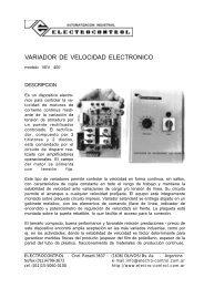 VARIADOR DE VELOCIDAD ELECTRONICO - Equipos e ...