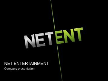 Certain statements in this presentation are ... - Net Entertainment