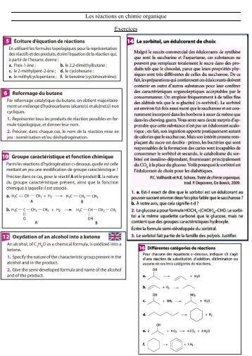 Exercices Les réactions en chimie organique.pdf - Webnode