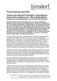 Pressemitteilung April 2009 Vierzig Jahre Binsdorf Architektur