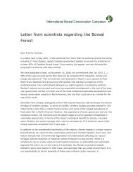 Letter from scientists regarding the Boreal Forest - Initiative boréale ...