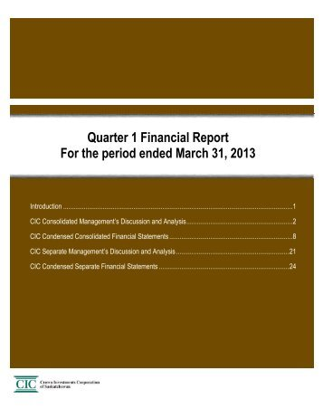 Q1 2013 Quarterly Report - Crown Investments Corporation