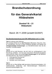 Brandschutzordnung für das Generalvikariat Hildesheim