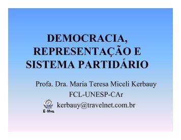 democracia, representação e sistema partidário - Assembleia ...