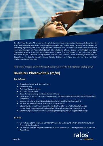 Bauleiter Photovoltaik (m/w) - Ralos GmbH