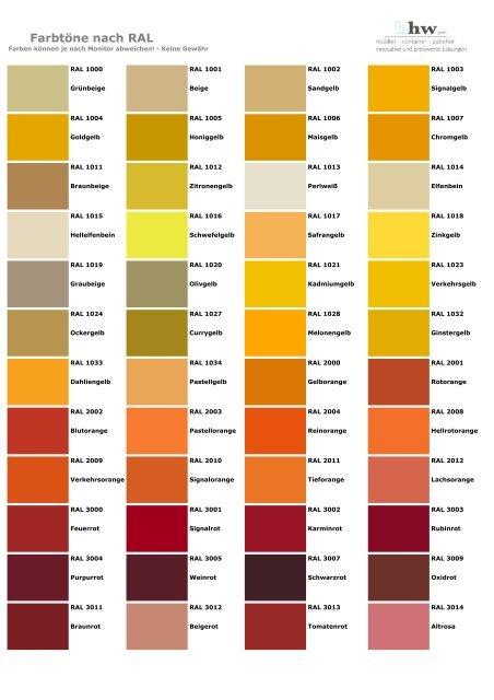 Farbtöne Nach Ral Bhw Gmbh