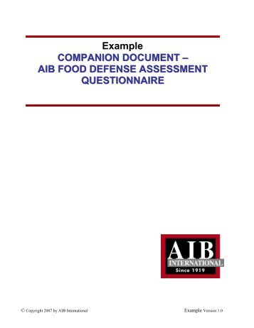 Food defence plan example for Aib business plan template