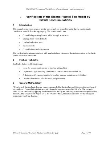 Verification of the Elastic-Plastic Soil Model by - GEO-SLOPE ...