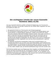 Die wichtigsten Inhalte der neuen Kosmetik- Richtlinie 2003/15/EG