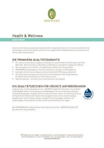 PRIMAVERA Health & Wellness - Sauna Therapy ... - Aromashop