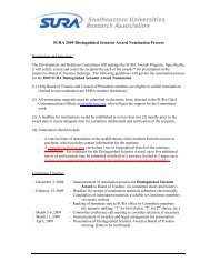 SURA 2009 Distinguished Scientist Award Nomination Process