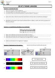 DS sur la classification périodique et les spectres - Physagreg