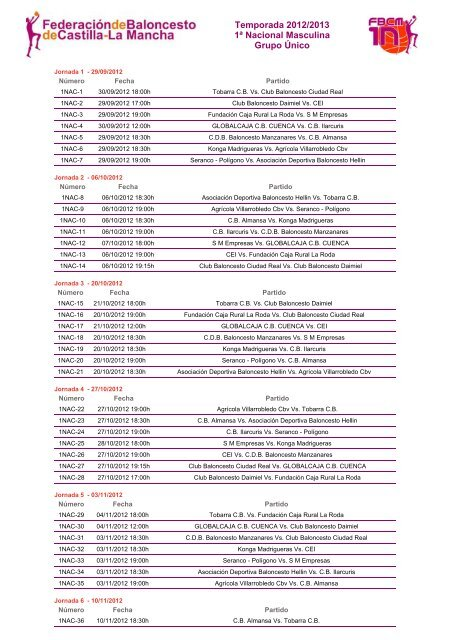 Temporada 2012/2013 1ª Nacional Masculina Grupo ... - tobarra cb