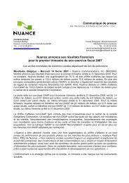 Communiqué de presse Nuance annonce ses résultats financiers ...