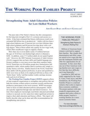 Strengthening State Adult Education Policies for Low-Skilled Workers