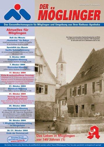 Das Leben in Möglingen vor 145 Jahren - Rathaus Apotheke ...