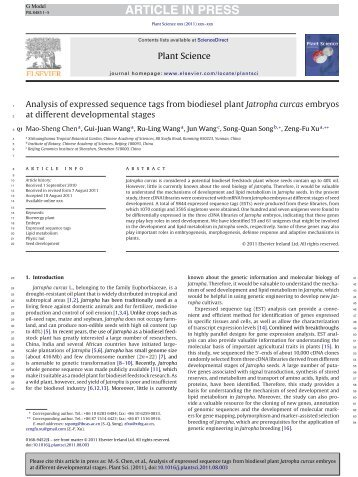 Analysis of expressed sequence tags from biodiesel plant Jatropha ...