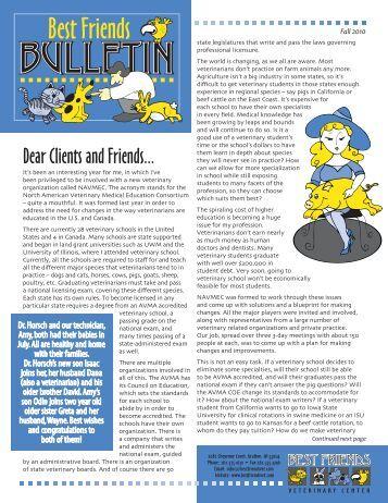 Fall 2010 Bulletin - Best Friends Veterinary Center