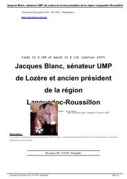 Jacques Blanc, sénateur UMP de Lozère et ancien ... - Divergence FM
