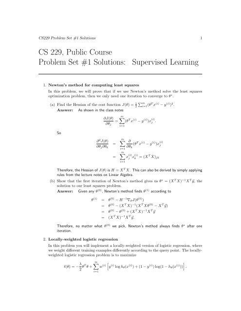 CS 229, Public Course Problem Set #1 Solutions: Supervised