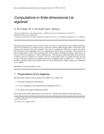 Computations in finite-dimensional Lie algebras - Research Institute ...