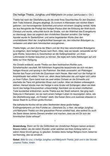 Die heilige Thekla, Jungfrau und Märtyrerin (Im ... - Einsiedelei.at
