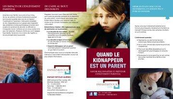 Quand le kidnappeur est un parent (brochure) - Enfant-Retour Québec